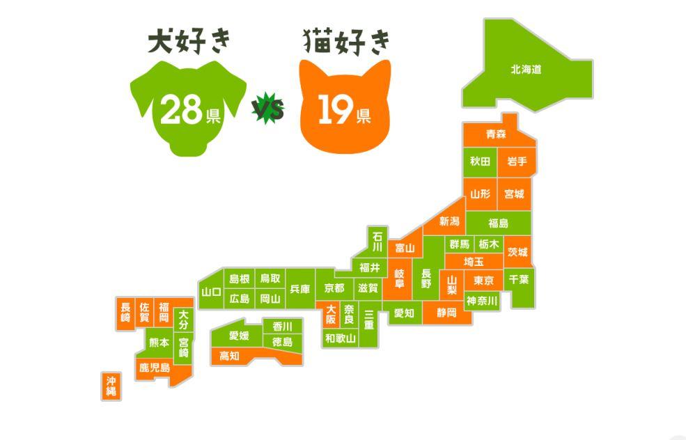 【小ネタ】通販利用から見た犬好き県・猫好き県ランキング