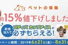 キャンペーン「ペット保険に新規加入で、ゴディバ カップアイスが必ずもらえる!」開始