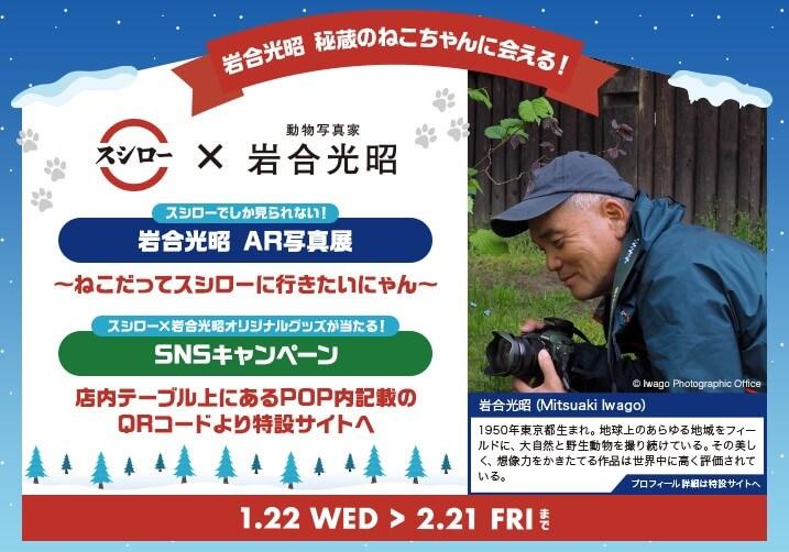 """日本全国のねこ好き必見! 回転すし『スシロー』と""""ねこ写真の第一人者""""ともいえる動物写真家・岩合光昭が夢のコラボ!スシロー限定で秘蔵のねこ写真が楽しめる『岩合光昭 AR写真展』を開催!"""