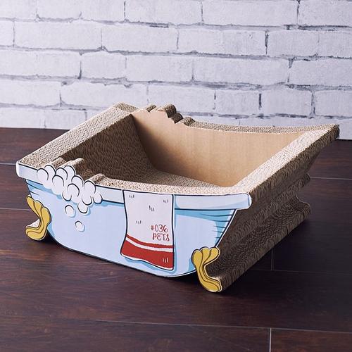 「爪とぎ Bathtub」価格:1,980円/猫足バスタブの形をした猫用の爪とぎ。 まるで愛猫がお風呂に浸かっている姿に!