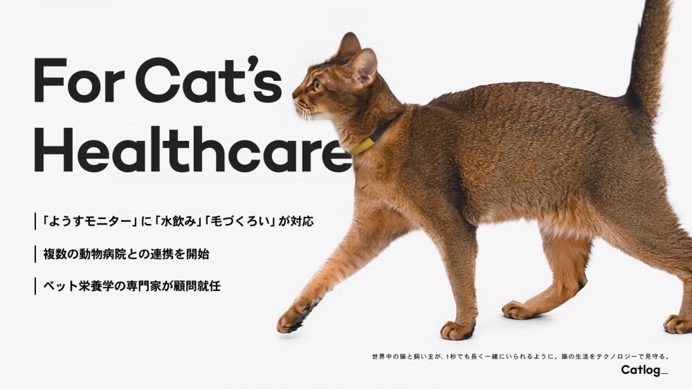 Catlog®(キャトログ)、猫様の健康変化の兆しをイチ早くお知らせする「ようすモニター」に水飲み・毛づくろいも対応。複数の動物病院との連携も開始し、ペット栄養学会理事の徳本氏が顧問に就任。