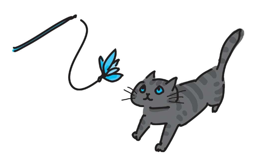 猫に達成感を持たせて遊び終える
